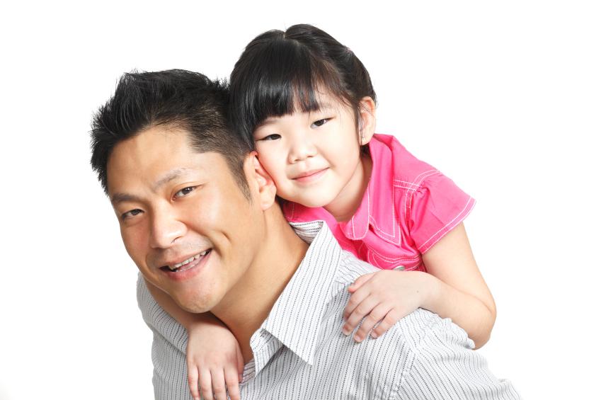 Asian dad daughter spa