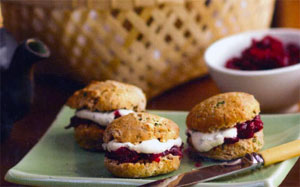 Herb Scones with Beetroot Jam and Cashew Nut Cheese