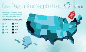 SpaFinder Deal Days US map