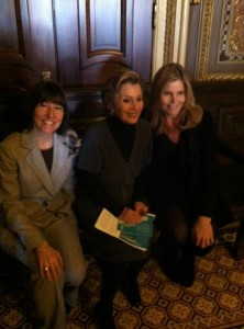 Sallie Fraenkel of SpaFinder, Senator Barbara Boxer and Mariel Hemingway, spokesperson for Wellness Week