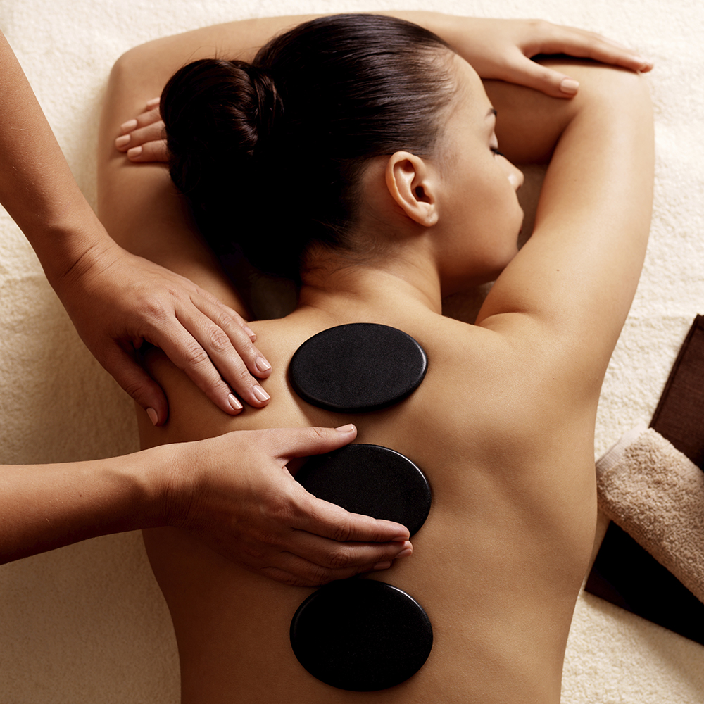 During a hot stone massage the therapist heats as many as 50 basalt stones of varying sizes to 120–140º F, rubs them over your oiled body.