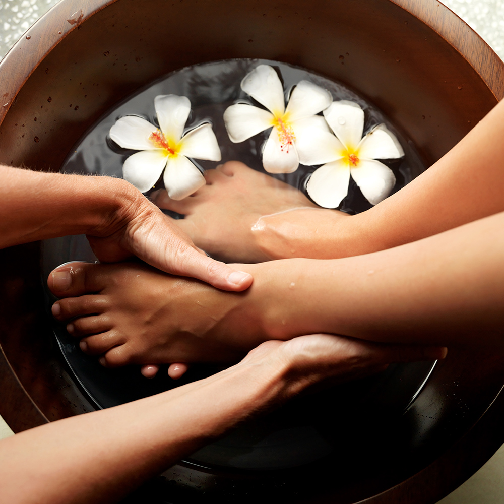 Relaxing pedicure and foot massage is therapeutic.