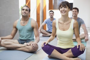 Yoga class --- Image by © Laura Doss/Corbis