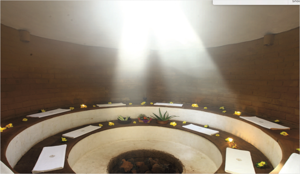 Inside a modern Temazcal at Mission del Sol Resort & Spa