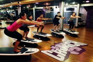 SurfSet Fitness, taught in 250 fitness studios across 19 countries, created RipSurferX, a freestanding board that rests on balancing discs and moves to simulate ocean waves, challenging class-takers to balance and work their core.