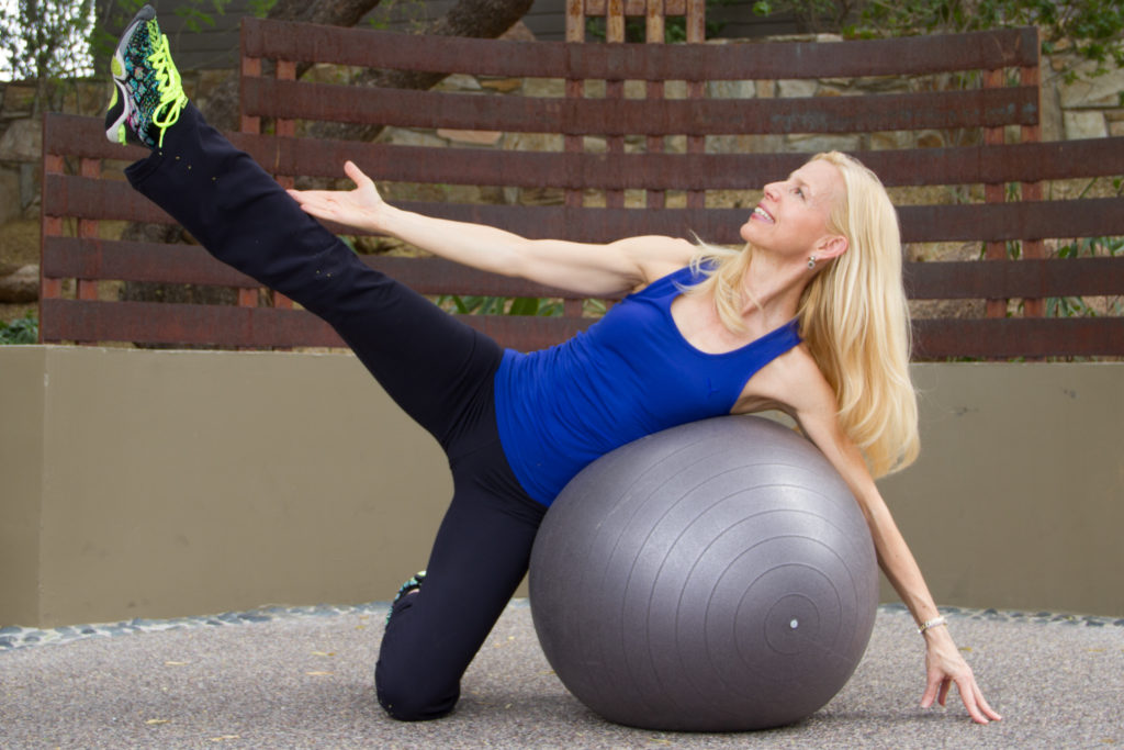 stability ball side leg lift