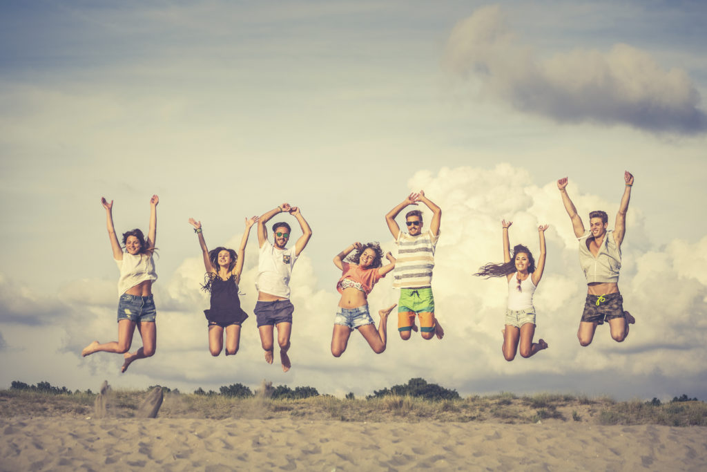 happy people jumping