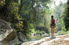 woman hiking alone in forest