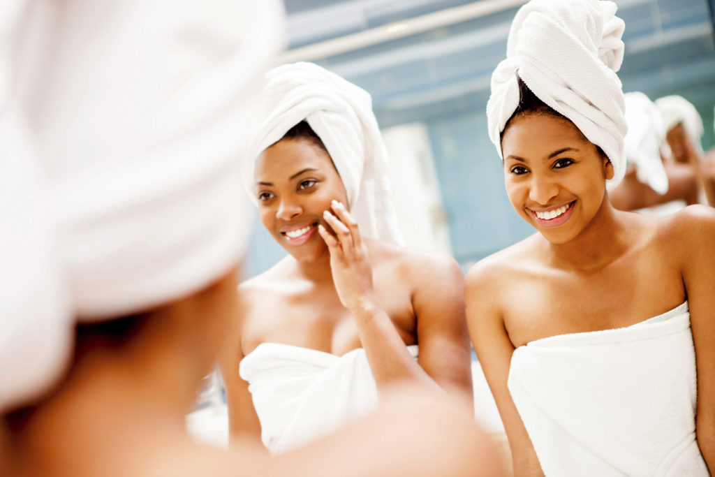 two smiling woman at the spa
