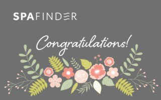 spafinder gift card that reads congratulations