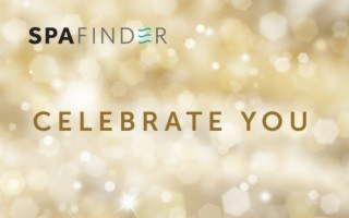 spafinder gift card that reads celebrate you and has gold background