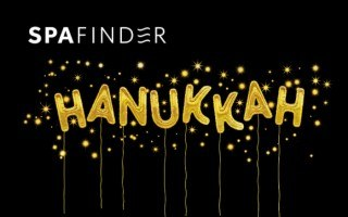 spafinder gift card that reads hanukkah in gold letters