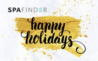 spafinder gift card that reads happy holidays in black letters