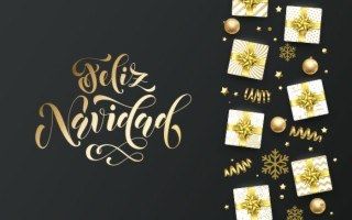 spafinder christmas gift card that reads feliz navidad in gold letters
