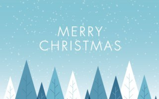 christmas gift card that reads merry christmas with blue and white christmas trees
