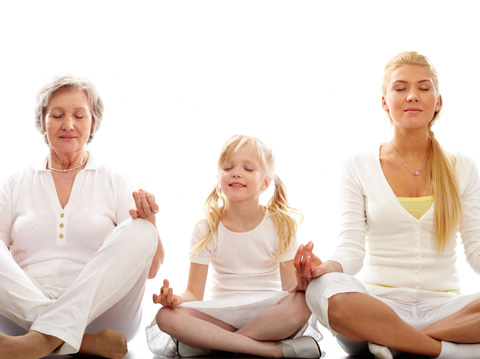 young girl mother and grandmother meditating