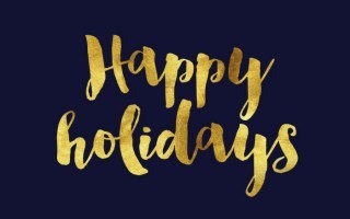 gift card that reads happy holidays in gold letters