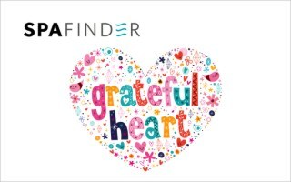 spafinder gift card image that has a heart that reads grateful heart