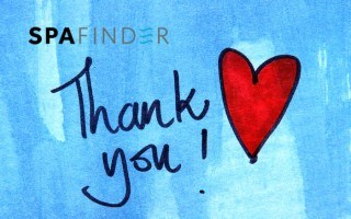 spafinder gift card that reads thank you with an image of a heart