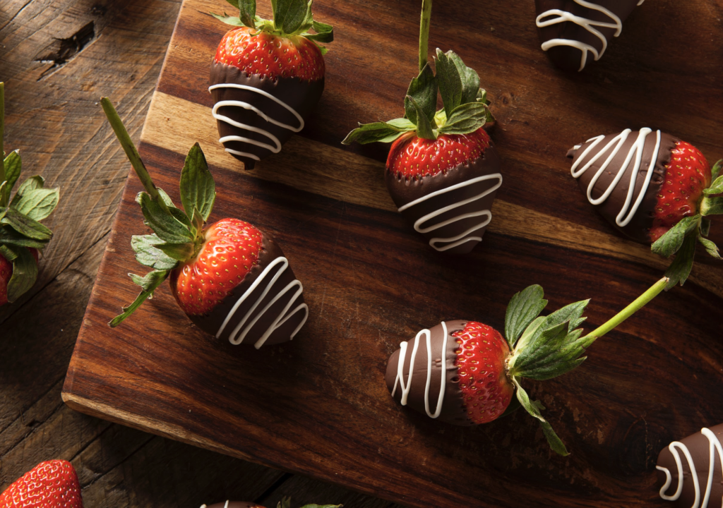 Chocolate flavored strawberries